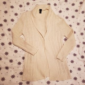 Basic Editions cream gold woven cable knit duster